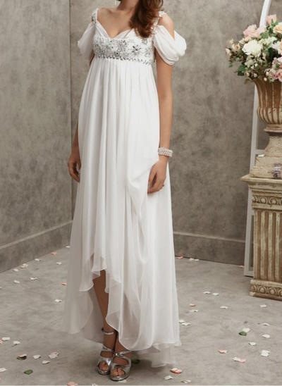 bbdf5d5880 A-Line Princess Asymmetrical Prom Dresses V-neck Chiffon Short Sleeves  (018144686 ...