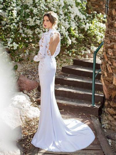 eca92fe23f2c ... Trumpet/Mermaid V-neck Court Train Wedding Dresses With Lace  (002144584) ...