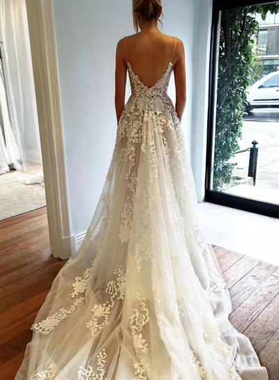 8408cfdbf80 ... Chic Deep V Neck A-Line Princess Wedding Dresses Court Train Tulle  Sleeveless (