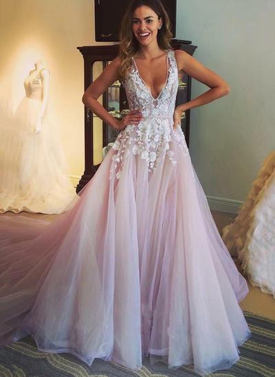 princess v neck prom dresses