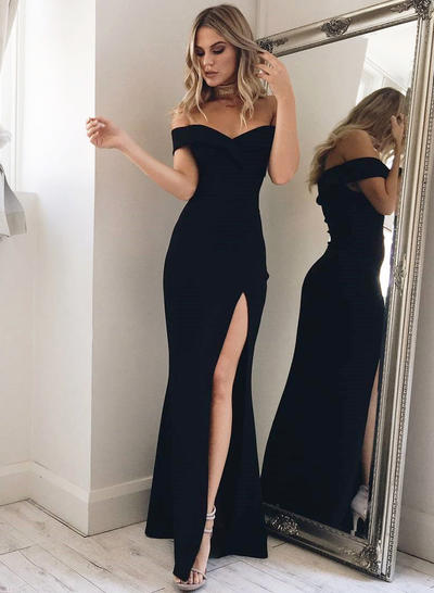 4a6c7ed879bc Trumpet/Mermaid Off-the-Shoulder Floor-Length Evening Dresses With Split  Front