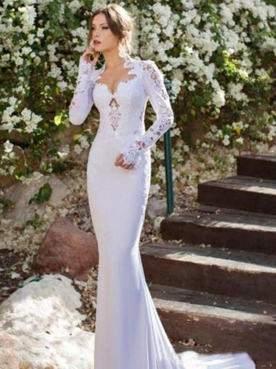 806789a99f37 ... Trumpet/Mermaid V-neck Court Train Wedding Dresses With Lace (002144584)