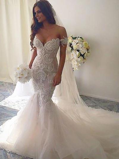 Wedding Dresses Mermaid.Stunning Off The Shoulder Trumpet Mermaid Wedding Dresses Chapel Train Organza Sleeveless 002210827