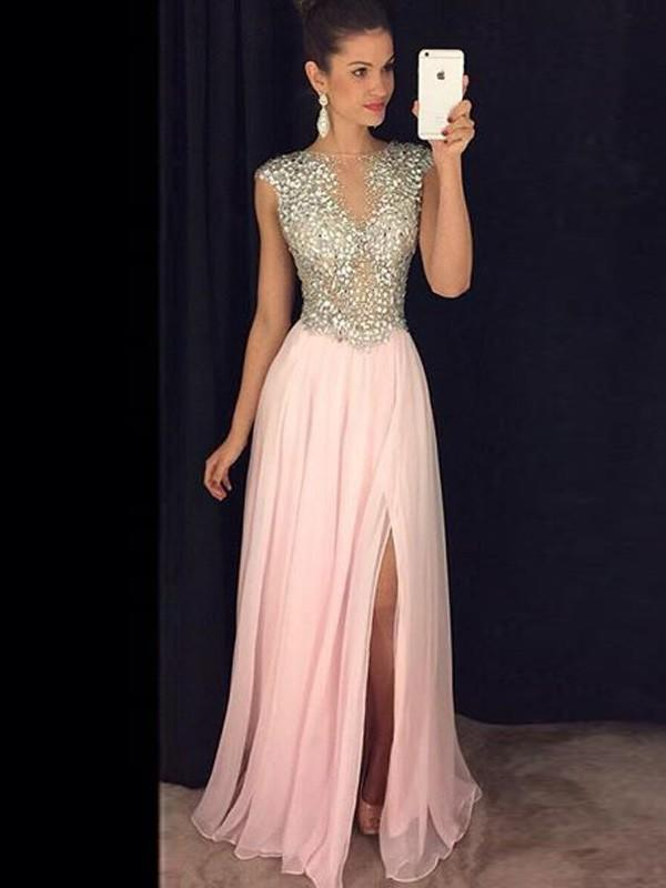 753e9013493 A-Line Princess Scoop Neck Floor-Length Evening Dresses With Beading Split  Front. Loading zoom