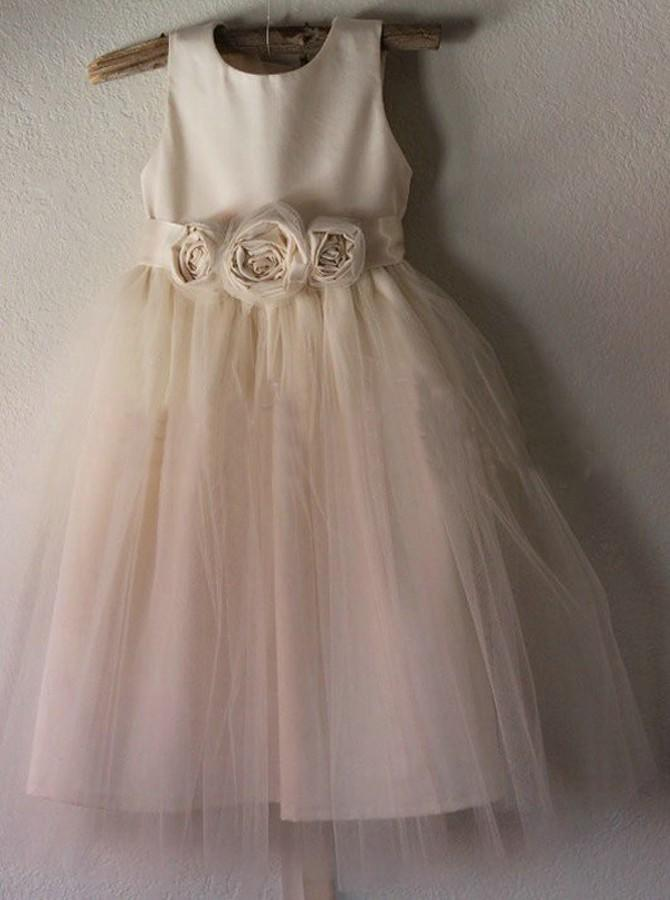 eeb73c4f8a0 Glamorous Scoop Neck A-Line Princess Flower Girl Dresses Ankle-length Satin .  Loading zoom