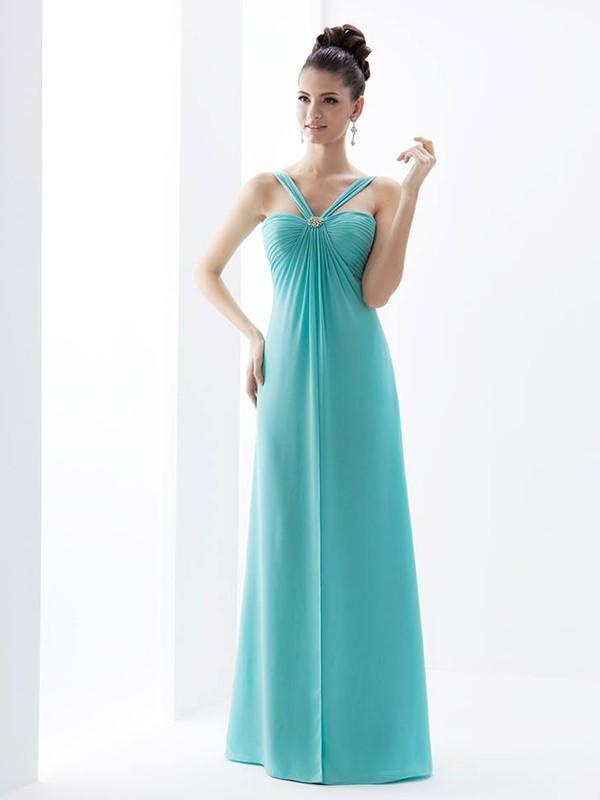726bef4065 Empire Bridesmaid Dresses Ruffle V-neck Sleeveless Floor-Length  (007214723). Loading zoom
