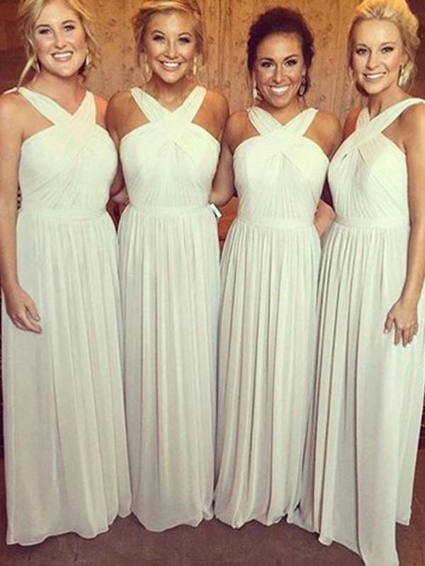 f24d3a8449c3 A-Line Princess Chiffon Bridesmaid Dresses Ruffle V-neck Sleeveless Floor- Length. Loading zoom