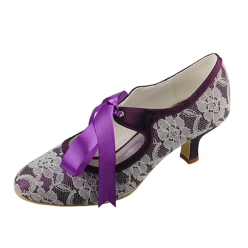 2bef1abd90 Women's Closed Toe Pumps Low Heel Lace Satin Wedding Shoes (047206205). Loading  zoom