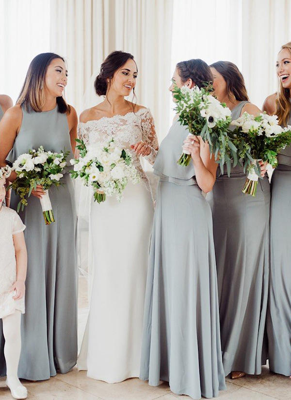 69eb9d54c20fa A-Line/Princess Chiffon Bridesmaid Dresses Cascading Ruffles Scoop Neck  Sleeveless Floor-Length. Loading zoom