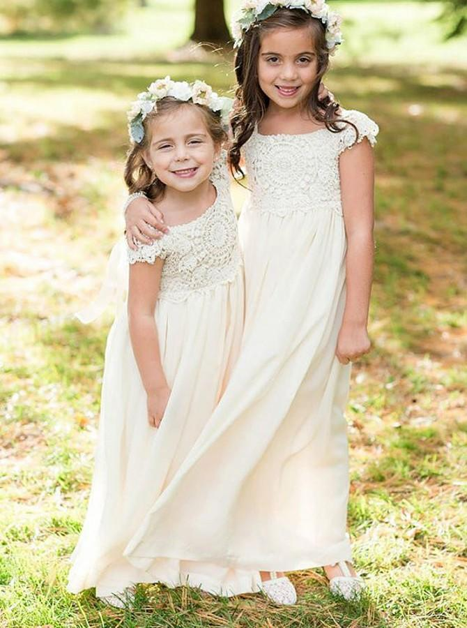 8ae70d43921 Chic Square Neckline A-Line Princess Flower Girl Dresses Ankle-length  Chiffon . Loading zoom