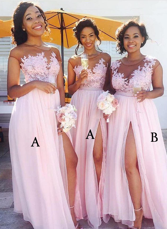 b24f9cb3b48 A-Line Princess Chiffon Lace Bridesmaid Dresses Split Front Scoop Neck  Sleeveless Floor-. Loading zoom