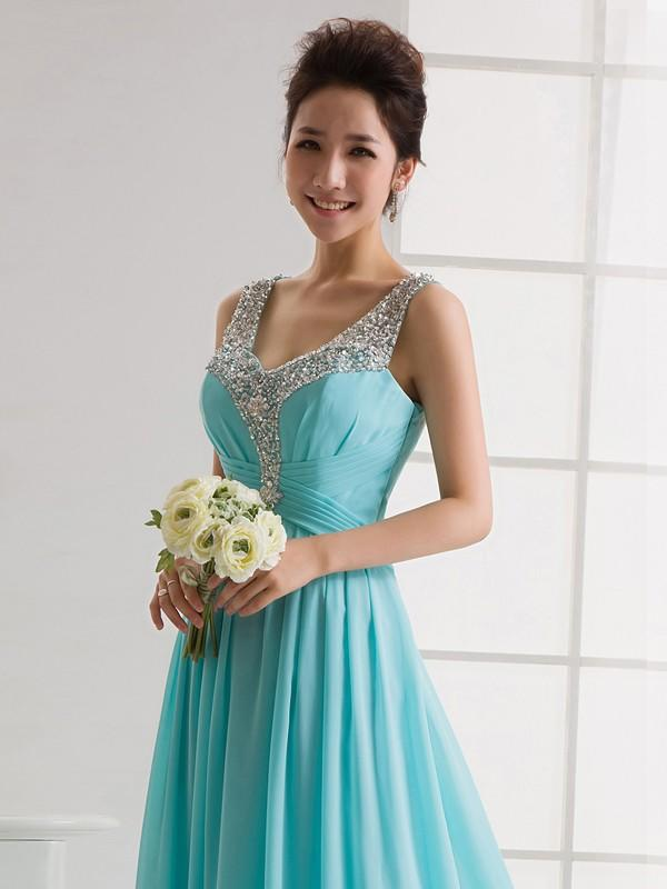 A-Line Princess Bridesmaid Dresses Ruffle Beading V-neck Sleeveless Floor- Length. Loading zoom 16527e3b0