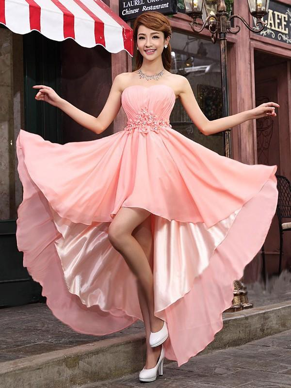 76b6ba5f344 A-Line Princess Strapless Asymmetrical Chiffon Bridesmaid Dresses With  Ruffle Beading Flower(s. Loading zoom
