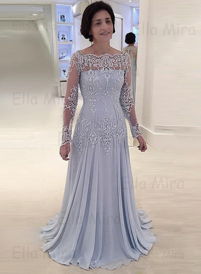 A-Line/Princess Square Neckline Chiffon Lace Long Sleeves Sweep Train Mother of the Bride Dresses (008146300)