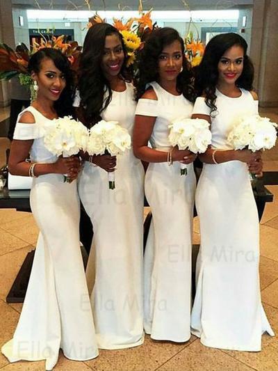 Satin Sleeveless Trumpet/Mermaid Bridesmaid Dresses Scoop Neck Sweep Train (007145033)