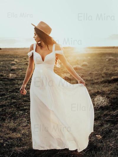 Elegant Floor-Length A-Line/Princess Wedding Dresses Off-The-Shoulder Chiffon Sleeveless (002144940)