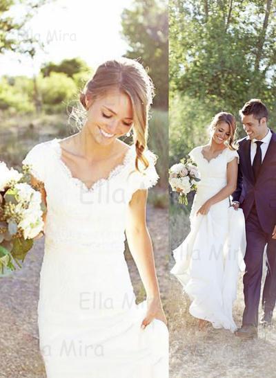 Delicate Sweep Train Trumpet/Mermaid Wedding Dresses V-neck Chiffon Sleeveless (002213509)