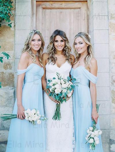 Chiffon Sleeveless A-Line/Princess Bridesmaid Dresses Off-the-Shoulder Ruffle Floor-Length (007145036)