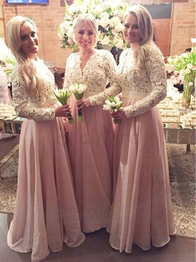 Chiffon Lace Long Sleeves A-Line/Princess Bridesmaid Dresses V-neck Beading Floor-Length (007144995)