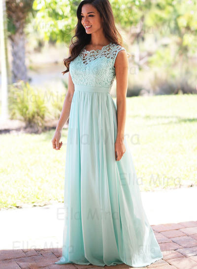 Chiffon Lace Sleeveless A-Line/Princess Bridesmaid Dresses Scoop Neck Floor-Length (007145060)