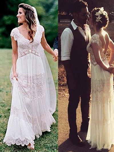Magnificent Floor-Length A-Line/Princess Wedding Dresses V-neck Lace Short Sleeves (002213546)