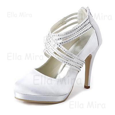 Bout Escarpins Talon Strass Femmes Chaussures avec de Plateforme Zip Satiné fermé mariage047020114 cône fYby76gv