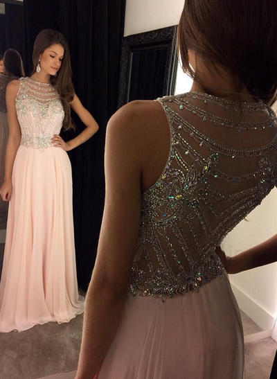 Chiffon Sleeveless A-Line/Princess Prom Dresses Scoop Neck Beading Sequins Floor-Length (018144649)