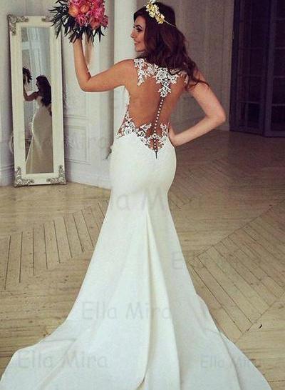 Gorgeous Chapel Train Trumpet/Mermaid Wedding Dresses Scoop Satin Sleeveless (002144927)
