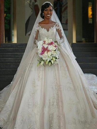 Sexy Chapel Train Ball-Gown Wedding Dresses Scoop Satin Long Sleeves (002217899)