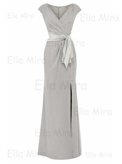 Empire V-neck Stretch Crepe Short Sleeves Floor-Length Split Front Mother of the Bride Dresses (008146317)
