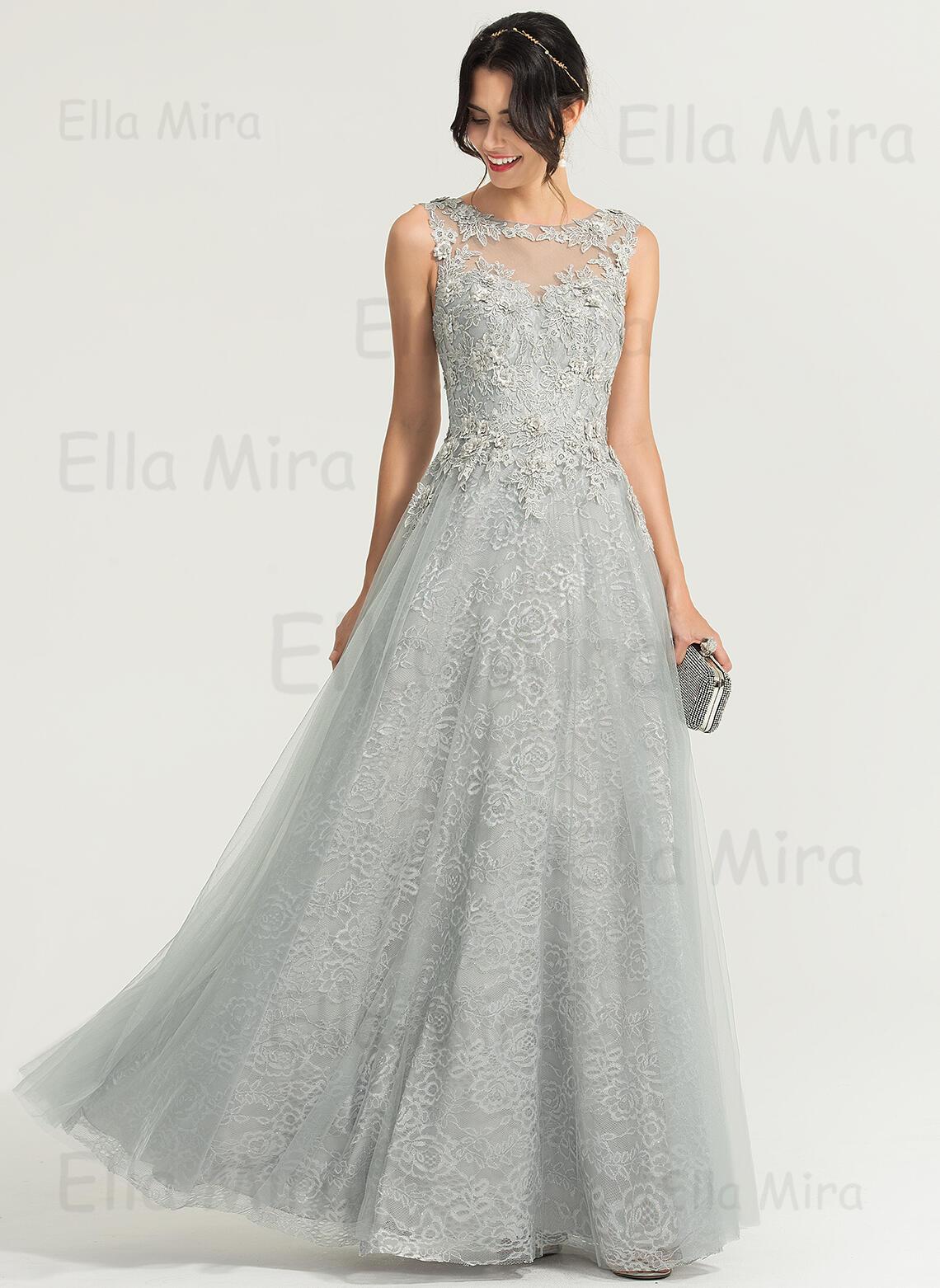 A-Linie/Princess-Linie U-Ausschnitt Bodenlang Tüll Abendkleid (11)