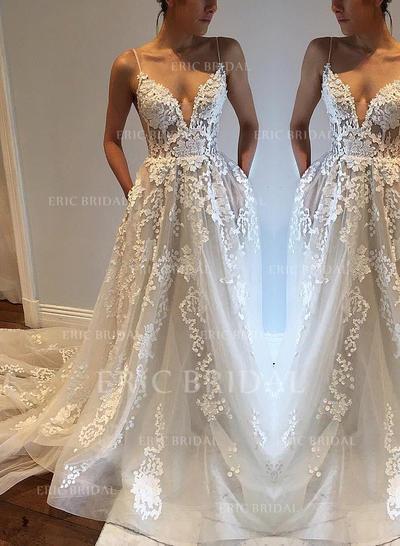 Chic Col V profond Forme Princesse Robes de mariée Traîne moyenne Tulle Sans manches (002148007)