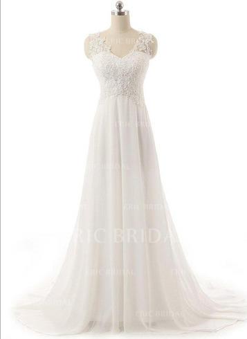 Superbe Col V Forme Princesse Robes de mariée alayage/Pinceau train Mousseline de soie Sans manches (002148101)