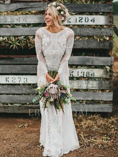 Encolure dégagée Forme Princesse Robes de mariée Dentelle Longues manches alayage/Pinceau train (002213524)
