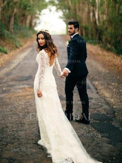 Forme Fourreau Tulle Dentelle Longues manches Col V Traîne mi-longue Robes de mariée (002144926)