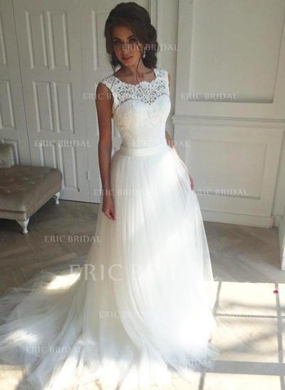 Forme Princesse Tulle Sans manches Carré Traîne moyenne Robes de mariée (002147809)
