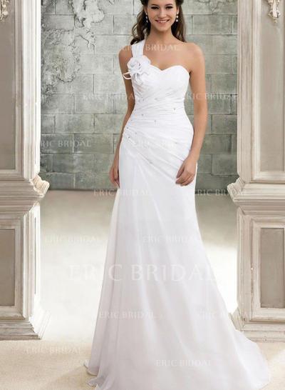 Forme Princesse Mousseline de soie Sans manches Une épaule alayage/Pinceau train Robes de mariée (002147902)