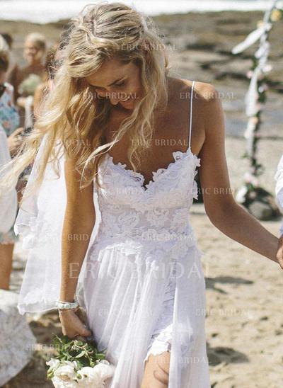 Forme Princesse Mousseline de soie Sans manches Col V alayage/Pinceau train Robes de mariée (002144581)