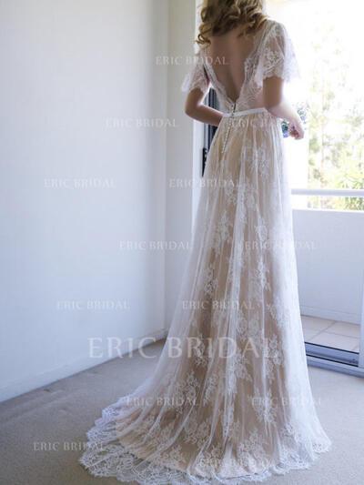 Forme Princesse Tulle Dentelle Manches courtes Col V alayage/Pinceau train Robes de mariée (002144924)