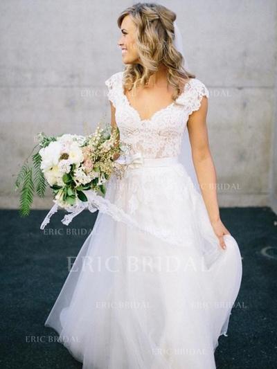 Forme Princesse Tulle Col V alayage/Pinceau train Robes de mariée (002147796)