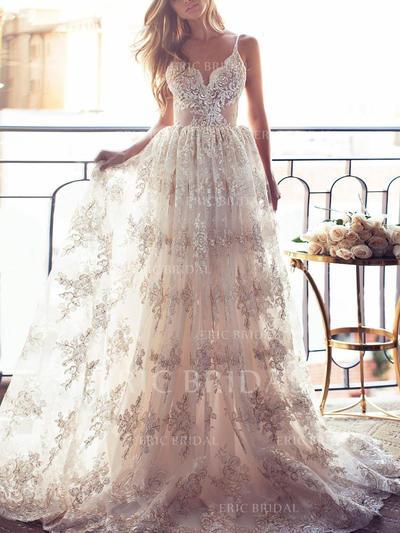 Forme Princesse Dentelle Sans manches Col V alayage/Pinceau train Robes de mariée (002144923)