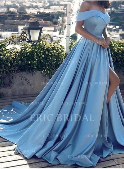 Forme Princesse Traîne moyenne Robes de bal Hors-la-épaule Satiné Sans manches (018145556)