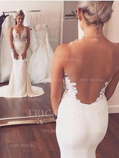 Forme Sirène/Trompette Encolure dégagée Traîne moyenne Robes de mariée avec Motifs appliqués Dentelle (002144874)
