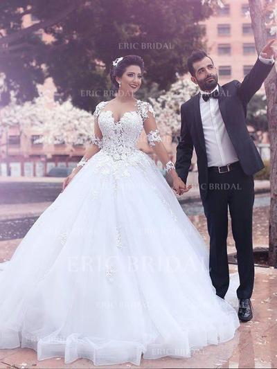 Flatteur Encolure dégagée Robe Marquise Robes de mariée Traîne moyenne Tulle Longues manches (002210839)