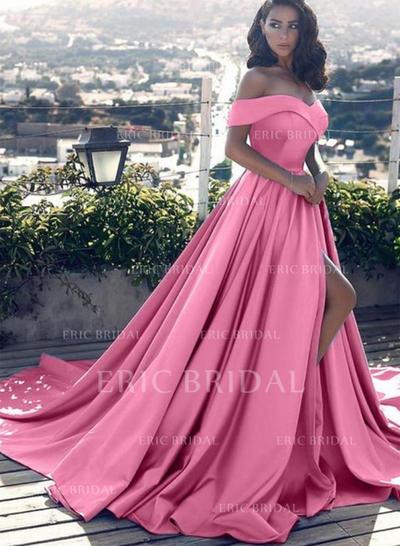 Forme Princesse Hors-la-épaule Traîne moyenne Satiné Robes de soirée avec Plissé (017216968)
