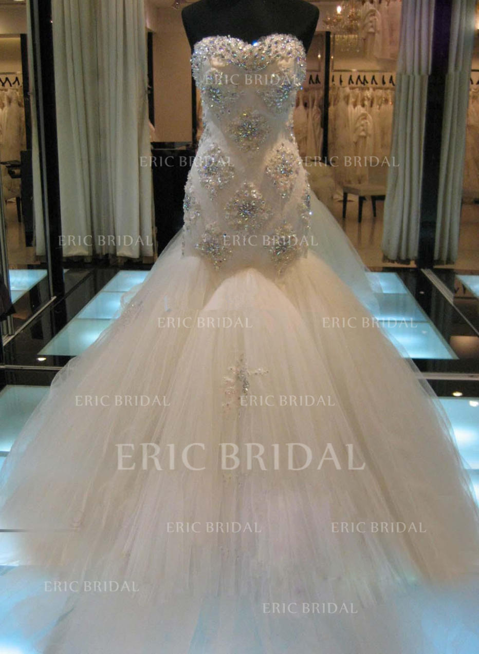 456838e11e3 Trumpet Mermaid Sweetheart Cathedral Train Wedding Dresses With Beading  Appliques Lace Sequins (002147798). Loading zoom