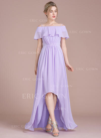 A-Line Off-the-Shoulder Asymmetrical Chiffon Bridesmaid Dress (007104702)
