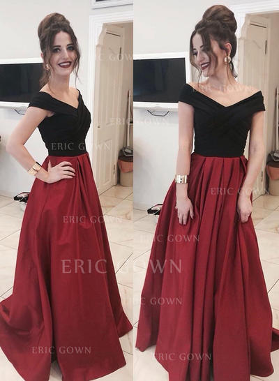 A-Line/Princess Off-the-Shoulder Floor-Length Satin Evening Dresses With Ruffle (017217880)
