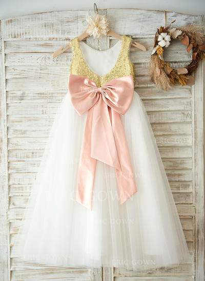 A-Line/Princess Floor-length Flower Girl Dress - Tulle/Sequined Sleeveless Scoop Neck With Bow(s)/V Back (010100974)