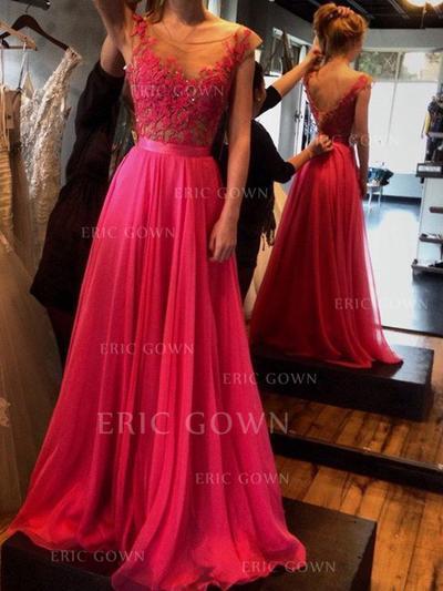 A-Line/Princess Scoop Neck Floor-Length Chiffon Evening Dresses With Appliques Lace (017217159)
